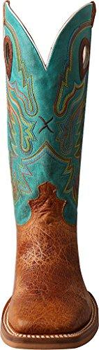 Torsadée X Mens Ruff Turquoise Stock Cowboy Boot Orteil Carré - Mrs0046 Cognac