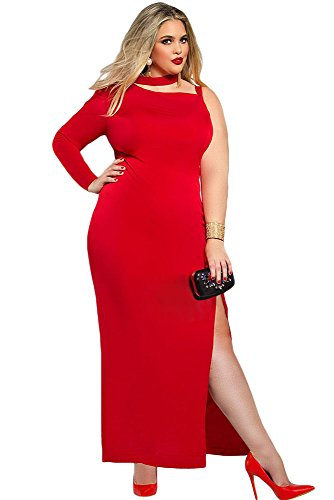 Neue Frau Plus Größe Rot Maxi Kleid Büro Kleid Casual Abend Party Wear