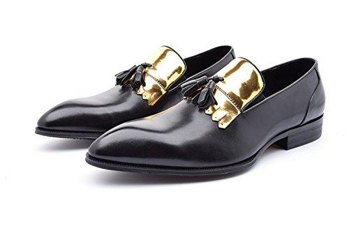 Santimon Mens Leather Pointed Toe Loafer Slip-on Dress Shoes Black TqnnI