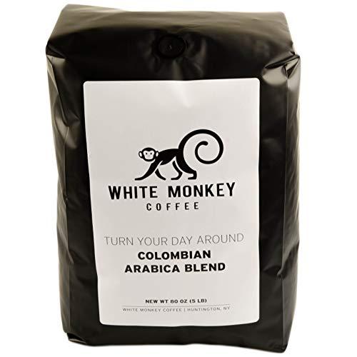 White Monkey 5LB Gourmet Bulk Coffee House Blend | Colombian Peruvian Beans | 100% Arabica | Medium Roast | Whole Bean Coffee, 5 Pound (5 lb) Bag