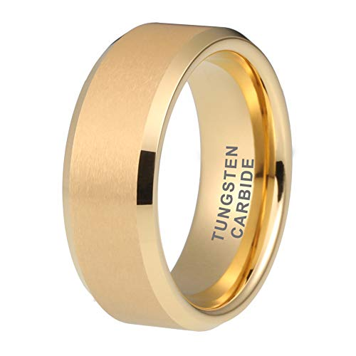 iTungsten 6mm 8mm Mens Tungsten Rings Womens Gold Wedding Bands Matte Finish Beveled Edges Comfort Fit