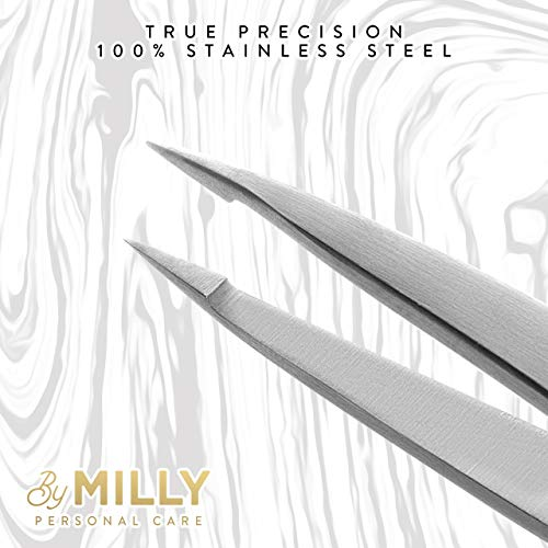 Pointed Tweezers – Stainless Steel – Perfectly Aligned Hand-Filed Point Tip Precision Tweezers – Tweezers for Ingrown…