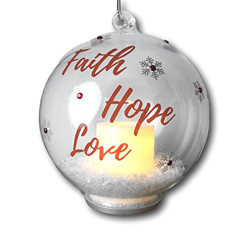 Faith Hope and Love Ornament – Hanging Glass Ball Christmas Ornament with LED Votive Candle and Glitter inside – Hand Pained Snowflakes - Glass Christmas Ornament (Votive Snowflake)