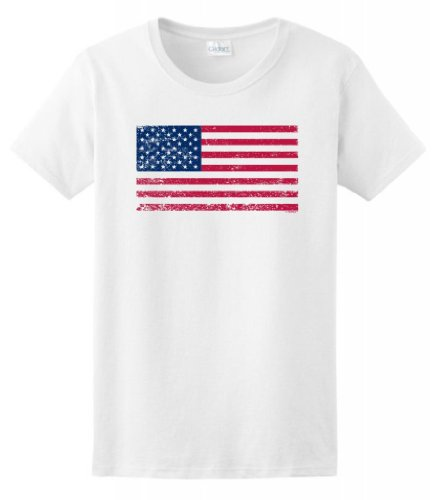 Tattered American Flag Ladies T Shirt