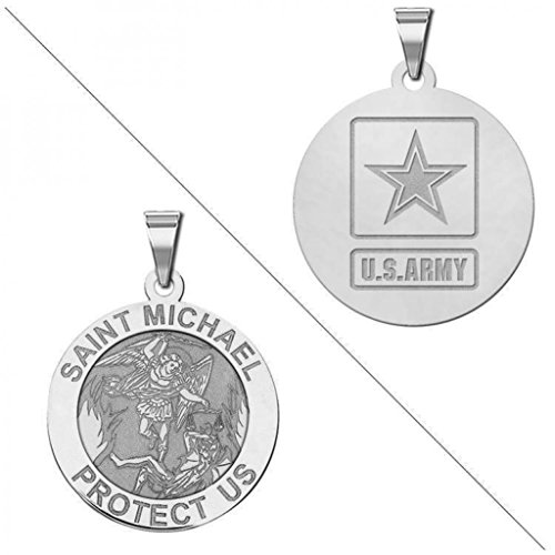 Saint Michael Doubledside Army Religious Medal   3 4 Inch Size Of A Nickel   Sterling Silver