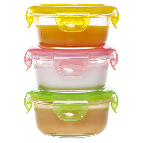 AILTEC Mini Glass Baby Food Containers Storage 3 Set 7.12 Oz with colorful lids, Round Small Reusable Homemade Toddler Lunch Baby food Prep Containers,Glass Jars BPA Free Airtight Lids ()