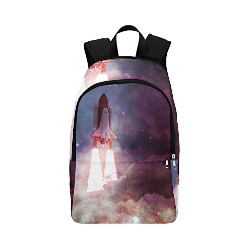 Backpack Shoulder Bag Spacecraft Takes Off Into Space for Men Women Girl Bookbag Lightweight Bookbags Lightweight High School Picnic for Climber (All The Best For Future Endeavours)