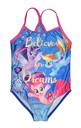 My Little Pony Little Girls One Piece Swimsuit, Blue 6X -