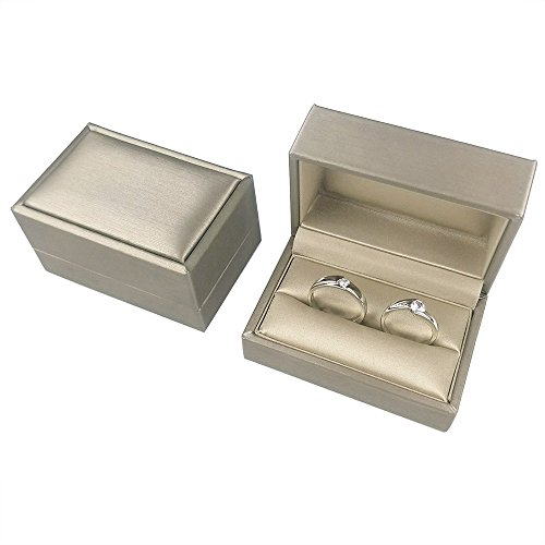 (DesignSter Gold Bearer Ring Box - Premium PU Leather Double Ring Box for Wedding Engagement Gift Box)