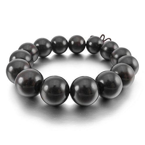 INBLUE Men,Women's 15mm Wood Bracelet Link Wrist Tibetan Buddhist Bead Prayer Buddha Mala Chinese knot Elastic