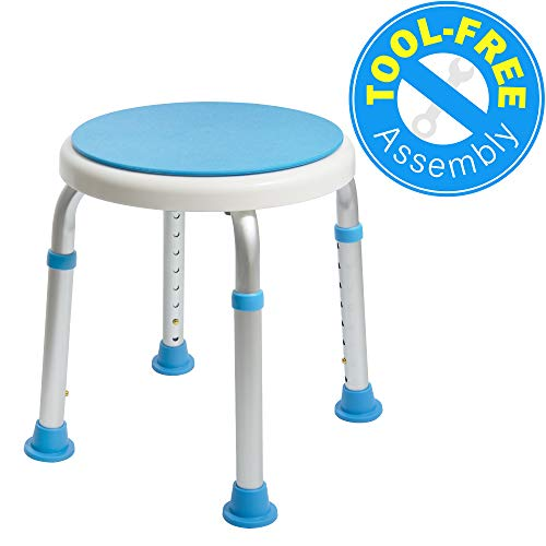 Medical Tool-Free Assembly Adjustable Swivel Shower Stool Seat Bench w
