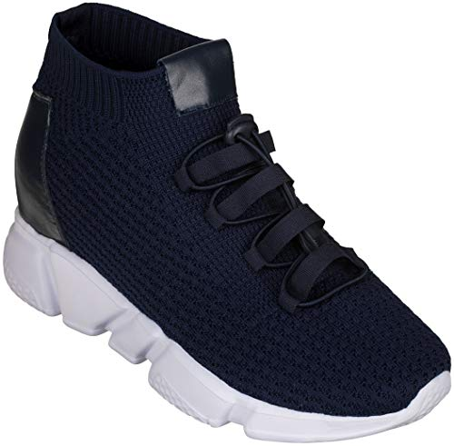 (CALTO Men's Invisible Height Increasing Elevator Shoes - Dark Blue Kintted Ultra Lightweight Slip-on Sporty Trainer Sneakers - 3.2 Inches Taller - H1722 - Size 7 D(M) US)