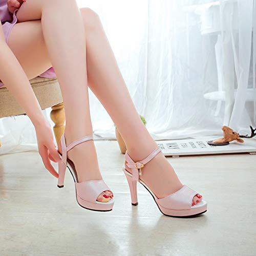 Zapatos 39cn Sandalias Fiesta 35 Tacones Hebilla plataforma Rosa Una Quicklyly Tacón Abiertos Sexy Mujer Palabra Alto Punta Altos Redonda Antideslizantes dp87Uw7x