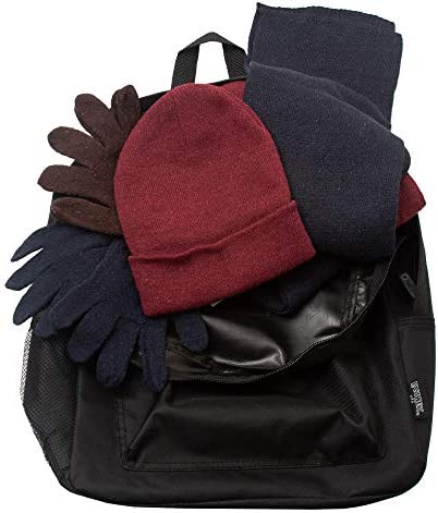Bulk Case of 12 Backpacks and 12 Winter Item Sets - Wholesale Care Package - Emergencies, Homeless, Charity