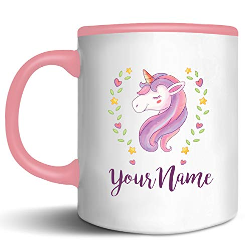 (Personalized Cute Unicorn-1 Theme Ceramic Coffee Mugs - Add Your Name for Free)