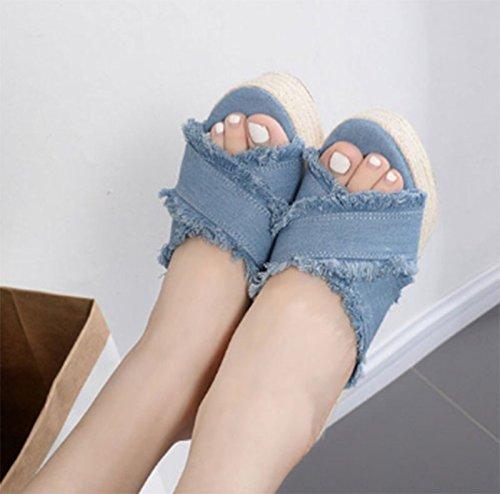 SCLOTHS Tongs Femme Chaussures L'été piscine fond épais talon haut la pente bleu 7 US 37.5 EU 4.5 UK  -
