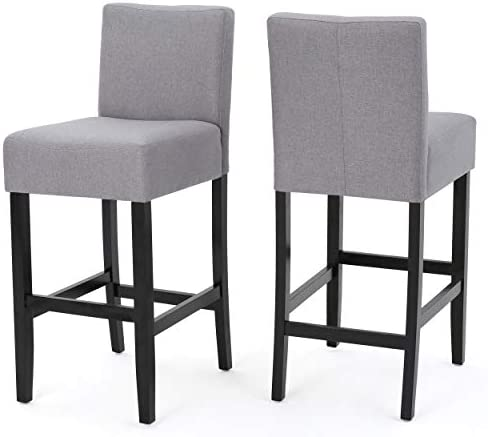 Christopher Knight Home Lopez Fabric Barstools, 2-Pcs Set, Light Grey