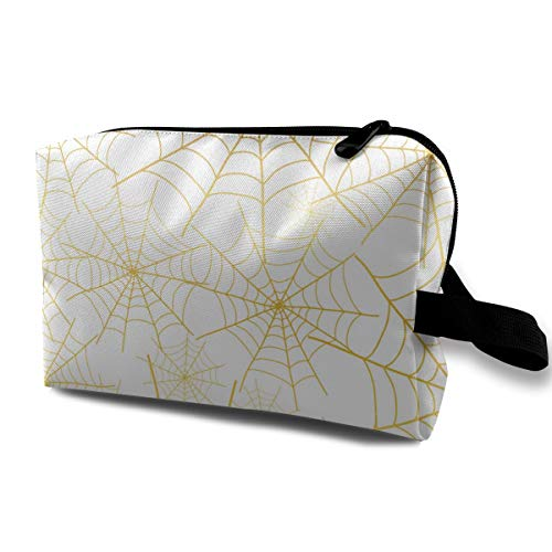 Travel Cosmetic Bags Gold Spiderweb Halloween Storage Bag Makeup Case Toiletries Bag Oxford Portable Makeup Clutch Pouch]()