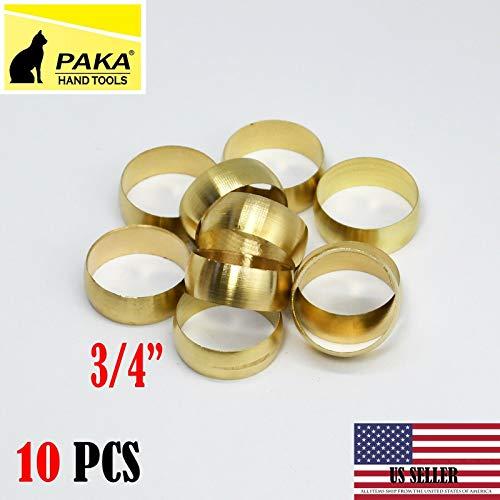 10 PCS - Brass Compression Sleeve, Tube OD 3/4