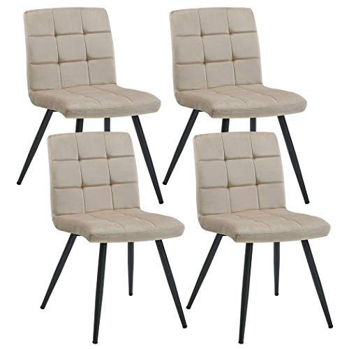 Kitchen Chairs Set of 4 Dining Chairs with Steel Frame Mid Back Modern Velvet Chairs Khaki