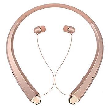 Auriculares inalámbricos Bluetooth Cuello Banda Auriculares Deporte Retráctil Auricular Auricular Oro Rosa