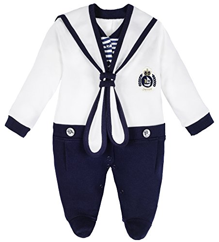 Lilax Baby Boy Sailor Outfit Footie with Hat 2 Piece Set 3-6 Months White