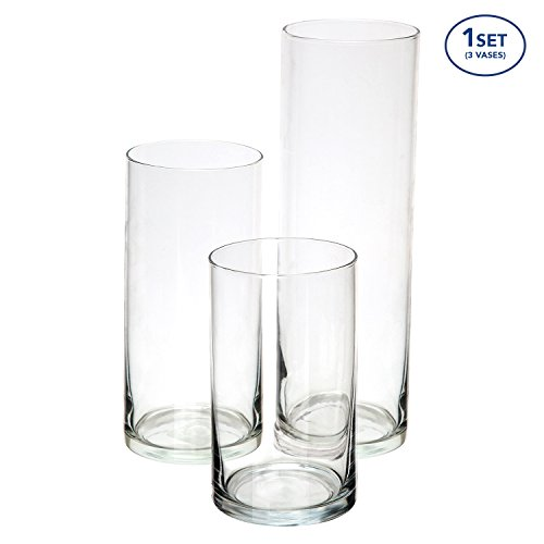 Royal Imports Glass Cylinder Vases SET OF 3 Decorative Centerpieces For Home or Wedding (Three Vases)