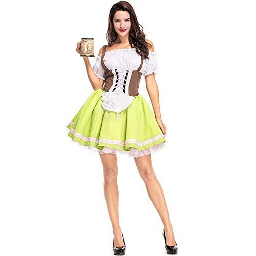 German Dirndl Dress Off-Shoulder Costumes Oktoberfest for Halloween Carnival M