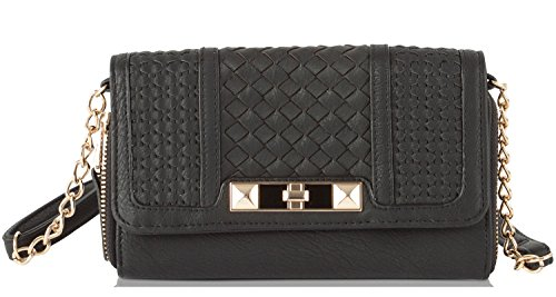 Jessica Leather Wallet (Jessica Simpson Jenna Front Zip Wos Cross Body Bag, Black, One)