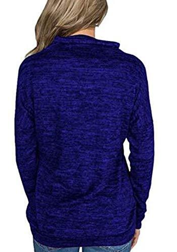 Alto Azul Sudadera Cuello Alto con Alto Cuello de Larga Sudadera Manga Blusas Cuello Mujer Keephen de de de Tq0RAwv