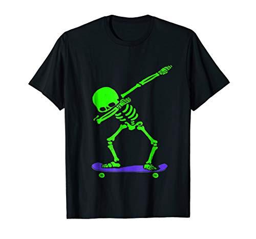 Halloween Dabbing Skeleton SKATEBOARD T-Shirt Dab Skate GLOW
