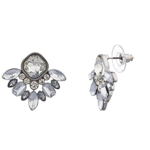 Gemstone Cluster Earrings - Lux Accessories Silvertone Special Occasion Gemstone Cluster Earring Stud Posts
