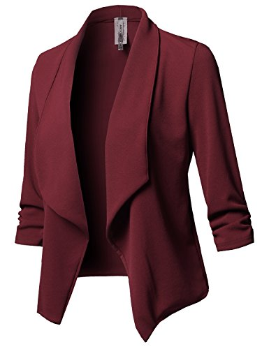 Stretch 3/4 Gathered Sleeve Open Blazer Jacket Burgundy XL