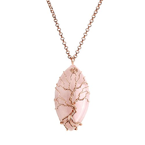 Vintage Pink Color Crystal Necklace - Top Plaza Vintage Copper Wire Wrapped Tree of Life Natural Gemstone Horse Eye Shape Pendant Necklace Healing Crystal Chakra Jewelry for Women - Rose Quartz