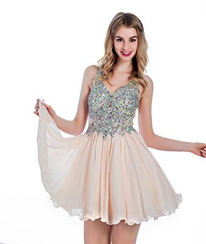 Vinvv Youthful V Neck Beaded Short Prom Party Chiffon Homecoming Dresses Champagne Size 16 (Plus Size 90s Fancy Dress)