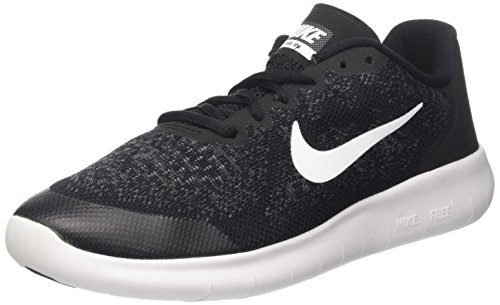 NIKE Kids Free RN 2017 (GS) Black/White Dark Grey Running Shoe 7 Kids US