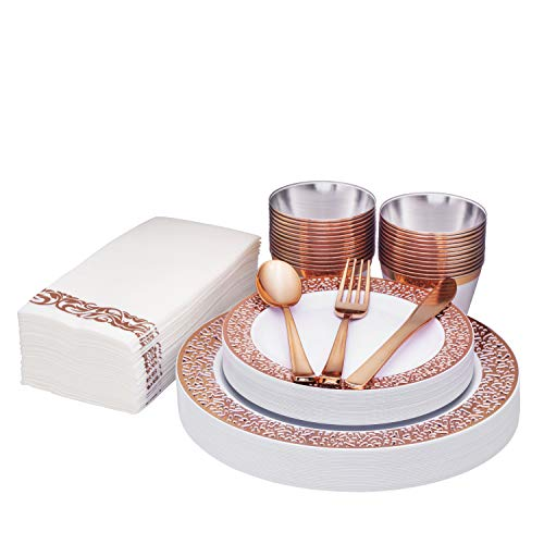 Rose Gold Disposable Dinnerware set 25 guest, Lace rim, 175 Pack Of Heavy-Duty Plastic Party – 25 Dinner Plates 10.25…