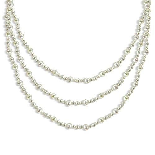 9-9,5mm, 6,5-7mm et 5-5.5mm Blanc d'eau douce de culture de bijoux Pearl Endless Collier, 203,2cm