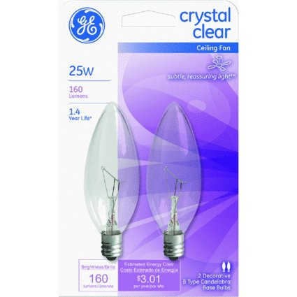 Ge Ceiling Fan Light Bulbs Blunt Tip 25 W 155 Lumens Candelabra 3.19 In. C-7a Clear Carded 2 (Clear Incandescent Carded Light Bulb)