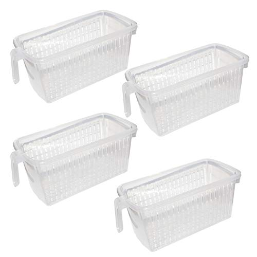 Plastic Baskets With Handles (Kurtzy Refrigerator Basket (4 Pack) - Plastic Kitchen Storage Organizer Rectangular Basket with Handle for Organizing Shelves, Pantry, Fridge, Bathroom, Kitchen (L 12.5 x W 5.9 x H 5.3)
