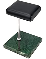 Jaimenalin Grön marmor silver stöd stång klocka armband visningsstativ, läder smycken förvaringsstativ, klockställ
