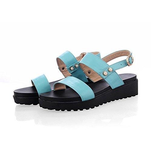 Amoonyfashion Womens Open-teen Buckle Rundleder Solide Kitten-hakken Sandalen Blauw