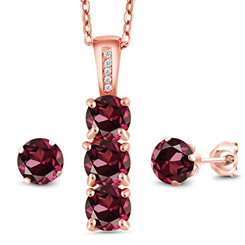 (Gem Stone King 3.04 Ct Red Rhodolite Garnet White Diamond 18K Rose Gold Plated Silver Pendant Earrings Set)