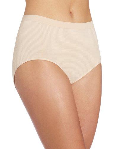 Bali Women's Comfort Revolution Seamless Brief Panty, Soft Taupe Stripe, 10/11 (Revolution Stripe)