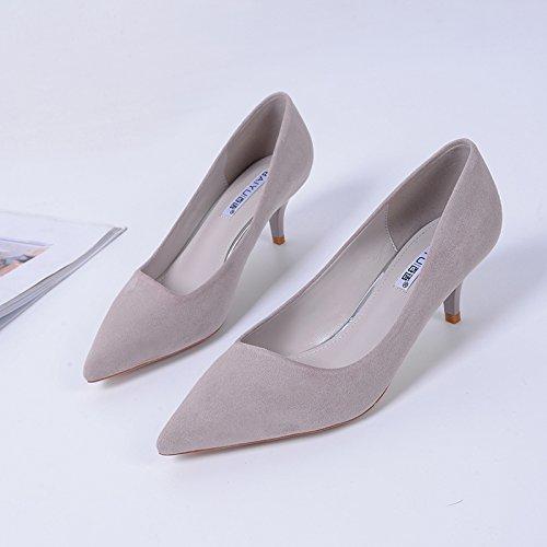 GAOLIM Durante La Primavera Y El Otoño De Tacón Puntiagudo Menor Multa Con Mujeres Con Solo Zapatos Zapatos De Trabajo Pro 5.5Cm gris