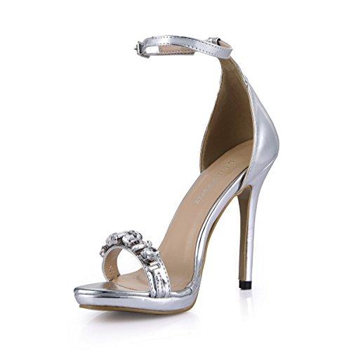 Sandali Con Tacco Alto Con Punta Aperta E Cinturino Alla Caviglia Sm00006 Argento