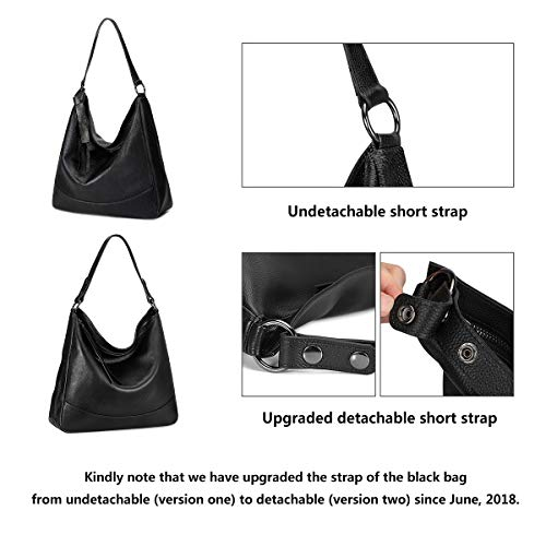Bag Black Shoulder Leather Genuine Women's ZONE S Satchel Large Bag Crossbody Handbag Hobo Tote Bag wYUn4q