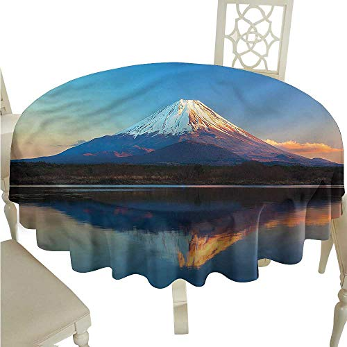 crabee Fitted Rectangle Table Cloth The Far East Nature,Fuji in Japan,for Wedding Reception Nave Blue