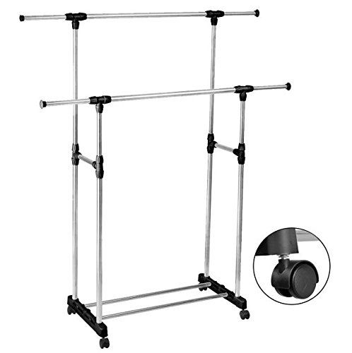 [Stainless Steel Double Rail Portable Clothes Hanger Adjustable and Extendable Garment Rack Heavy Duty with Lockable Rolling Wheel Laundry Drying Closet Organizer] (Used Fancy Dress Costumes Ebay)