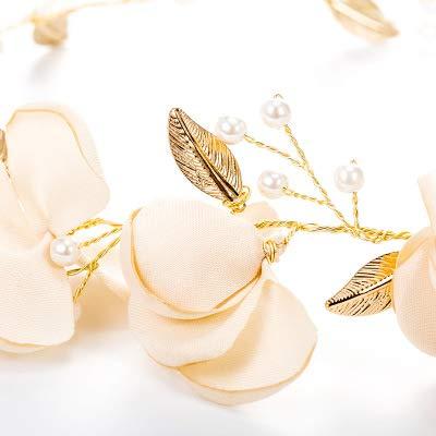 Accesorios de pelo boda nupcial diadema imitaci/ón perla hojas diadema mujeres cabeza ornamento se/ñoras pelos joyer/ía para el Cabello para Boda Fiesta Velada